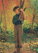 Autumn Woods Painting Prints - Boy Holding Logs Print by Winslow Homer