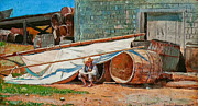 On Paper Paintings - Boy in a Boatyard by Winslow Homer by Pg Reproductions