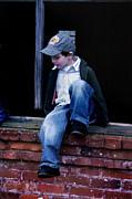 Boy In Window Print by Kelly Hazel