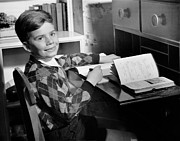 Desk Photo Prints - Boy Indoor At Desk Print by George Marks
