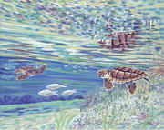 Ocean Turtle Paintings - Boy Meets Girl by Danielle  Perry