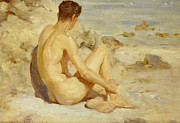Sea Birds Posters - Boy on a Beach Poster by Henry Scott Tuke