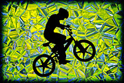 Susan Leggett Digital Art Acrylic Prints - Boy on a Bike Silhouette Acrylic Print by Susan Leggett