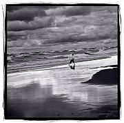 Boy On Shoreline Print by Steve Gadomski