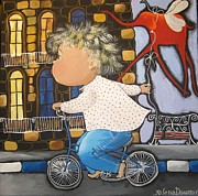 Floral Pictures Painting Prints - Boy on the bicycle Print by Yelena Dyumin