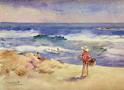 Sun Hat Posters - Boy on the Sand Poster by Joaquin Sorolla