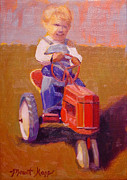 Vintage Painter Painting Prints - Boy on Tractor Print by The Vintage Painter