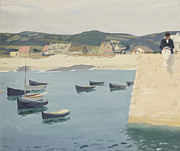 Fishing Boats Paintings - Boy Reading on a Harbours Edge  by William Strang