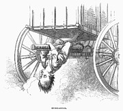 1876 Prints - Boy Riding Under Wagon Print by Granger
