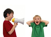 Shouting Framed Prints - Boy Shouting Into A Megaphone Framed Print by Kevin Curtis