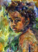 Ethnic Drawings Posters - Boy Watercolor Portrait Poster by Svetlana Novikova