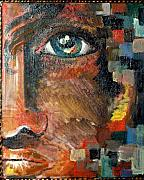 Movie Art Paintings - Boy With Blue Eye And Colors Cube by Patty Meotti