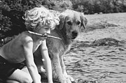 Canidae Photos - Boy With Dog by FW Binzen and Photo Researchers