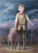Stick Man Paintings - Boy with Dog by Hans Droog