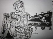 Acoustic Guitar Drawings - Boy with Guitar by Aidan Latham