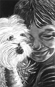 Karen Elzinga Paintings - Boy with pet dog by Karen Elzinga