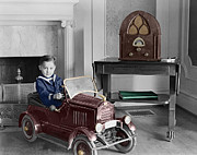 Vintage Radio Prints - Boy With Toy Car Print by Andrew Fare