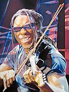 Violin Drawings Prints - Boyd Tinsley and 2007 Lights Print by Joshua Morton
