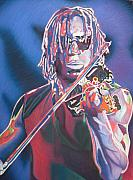 Band Drawings Prints - Boyd Tinsley Colorful Full Band Series Print by Joshua Morton