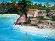 Haitian Paintings - Boyfriend Visiting Girlfriend by Nicole Jean-Louis