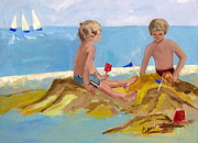 Sand Castles Painting Metal Prints - Boys at the Beach Metal Print by Betty Pieper
