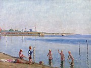 Docks Paintings - Boys at Waters Edge by Johan Rohde