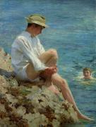 White Shirt Paintings - Boys Bathing by Henry Scott Tuke