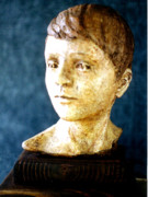Realism Sculpture Metal Prints - Boys Head Metal Print by Sarah Biondo