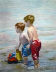 Boys On The Beach Print by Lamarr Kramer