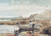 Boats At Dock Framed Prints - Boys on the Beach Framed Print by Winslow Homer