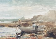 Fishing Painting Prints - Boys on the Beach Print by Winslow Homer