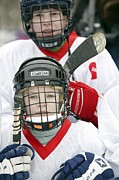 Tournament Photo Prints - Boys Playing Ice Hockey Print by Ria Novosti