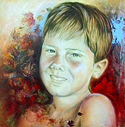 Different Painting Prints - Boys portrait Print by Karina Llergo Salto