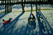 Winter Landscape Paintings - Boys Sledging by Andrew Macara