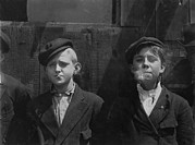 Lewis Wickes Hine Prints - Boys Smoking, Original Caption A.m Print by Everett