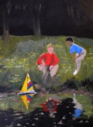 Playing Painting Originals - Boys with Sailboat by Anne Amin