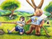 Prismacolor Colored Pencil Drawings Prints - Bozwell Games Print by Scarlett Royal