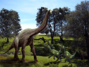 Dinosaur Illustrations - Brachiosaurus Attacked by Velociraptors by Frank Wilson