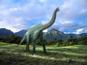 Dinosaur Art - Brachiosaurus In Meadow by Frank Wilson