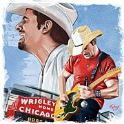 Portraits Framed Prints - Brad Paisley Framed Print by Tony Santiago