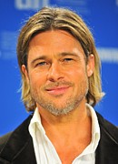 2010s Hairstyles Posters - Brad Pitt At The Press Conference Poster by Everett