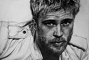 Celebrity Portrait Drawings - Brad Pitt by Jennifer Bryant