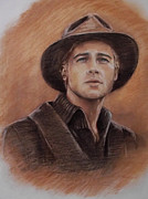 Tibet Drawings Prints - Brad Pitt Print by Lily April