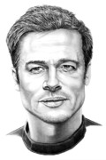 People Drawings Originals - Brad Pitt by Murphy Elliott
