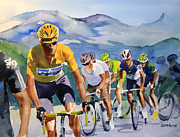 Tour De France Paintings - Brad Wiggins in Yellow by Shirley  Peters