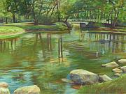 College Pastels Prints - Bradford MA College Pond Print by Leslie Alfred McGrath