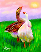 Geese Digital Art Posters - Brady and Autumn Poster by Karen Derrico