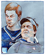 Tom Brady Prints - Brady and Belichick Print by Dave Olsen