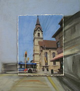Church Street Mixed Media Framed Prints - Brady Street - Church layered Framed Print by Anita Burgermeister