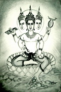 Hindu Drawings Posters - Brahma God  Poster by Sri Mala